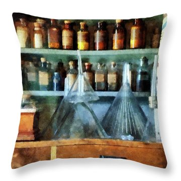 Pharmacist - Glass Funnels And Barber Pole Throw Pillow by Susan Savad