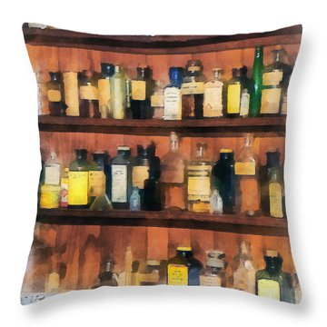 Throw Pillow featuring the photograph Pharmacist - Mortar Pestles And Medicine Bottles by Susan Savad