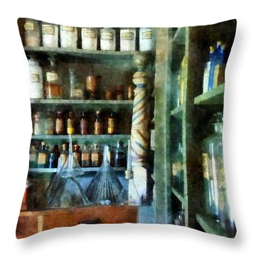 Throw Pillow featuring the photograph Pharmacy - Back Room Of Drug Store by Susan Savad