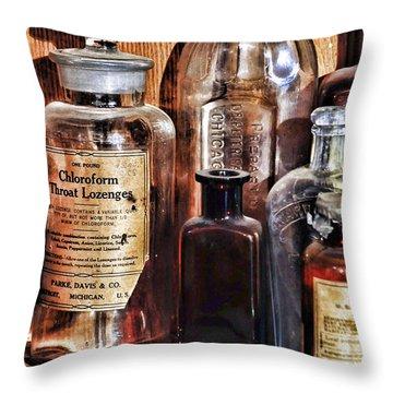 Pharmacy - Chloroform Throat Lozenges Throw Pillow by Paul Ward