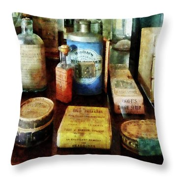 Pharmacy - Cough Remedies And Tooth Powder Throw Pillow