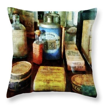 Throw Pillow featuring the photograph Pharmacy - Cough Remedies And Tooth Powder by Susan Savad
