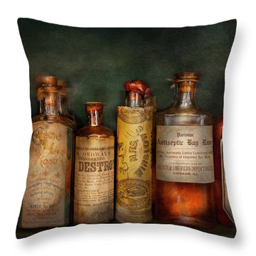 Pharmacy - Daily Remedies  Throw Pillow by Mike Savad