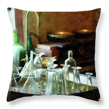 Pharmacy - Glass Funnels And Bottles Throw Pillow
