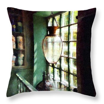 Pharmacy - Glass Mortar And Pestle On Windowsill Throw Pillow