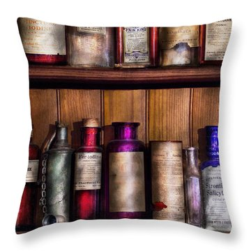 Pharmacy - Ingredients Of Medicine  Throw Pillow by Mike Savad