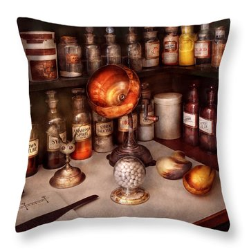 Pharmacy - Items From The Specialist Throw Pillow by Mike Savad