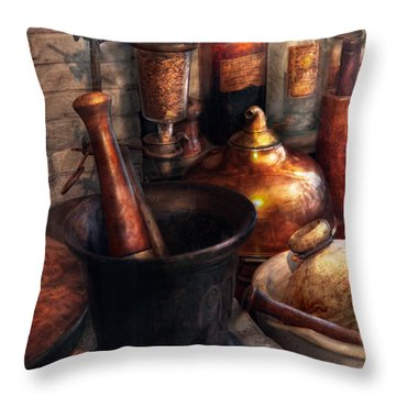 Pharmacy - Pestle - Pharmacology Throw Pillow by Mike Savad