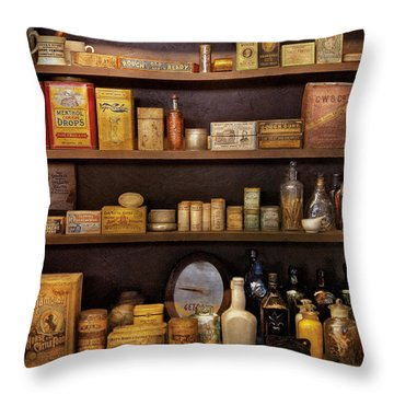 Pharmacy - Quick I Need A Miracle Cure Throw Pillow by Mike Savad