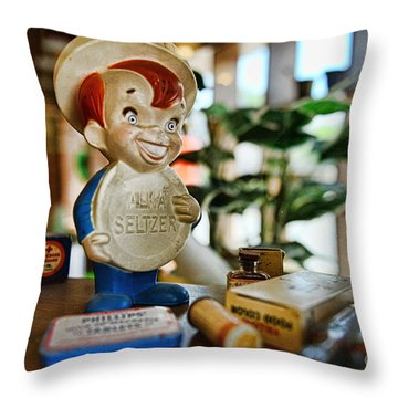 Pharmacy - Speedy Alka Seltzer - Vintage Advertising  Throw Pillow by Paul Ward