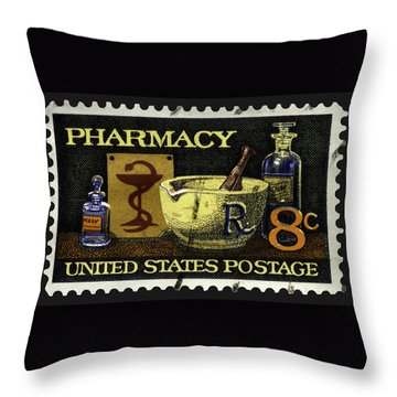 Pharmacy Stamp With Bowl Of Hygeia Throw Pillow