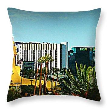 Pharoh Of Vegas Throw Pillow by John Malone