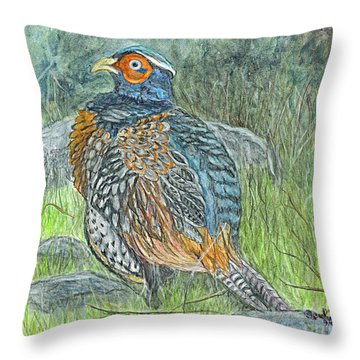 Throw Pillow featuring the drawing Pheasant Common Male by Carol Wisniewski