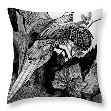 Pheasant In Flight Throw Pillow