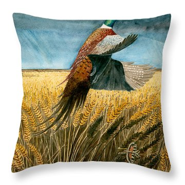 Pheasant Rising Throw Pillow