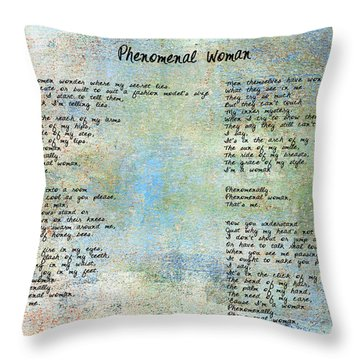 Phenomenal Woman - Blue Rustic Throw Pillow