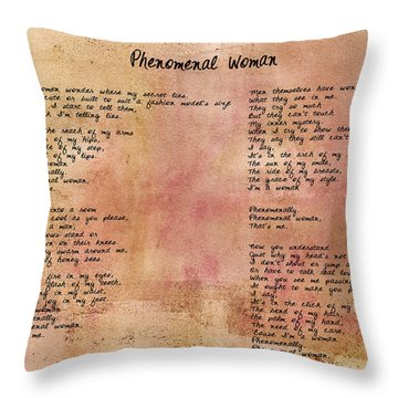 Phenomenal Woman - Red Rustic Throw Pillow