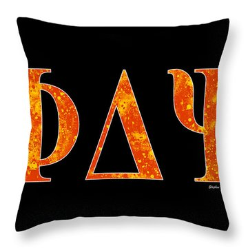 Throw Pillow featuring the digital art Phi Delta Psi - Black by Stephen Younts