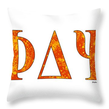 Throw Pillow featuring the digital art Phi Delta Psi - White by Stephen Younts
