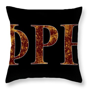 Throw Pillow featuring the digital art Phi Rho Eta - Black by Stephen Younts