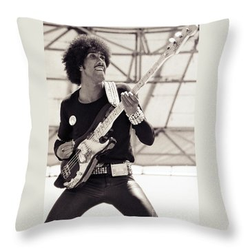 Phil Lynott Of Thin Lizzy Black Rose Tour At Day On The Green 4th Of July 1979 - Unreleased No 2 Throw Pillow