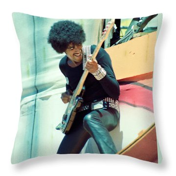 Phil Lynott Of Thin Lizzy - Black Rose Tour Day On The Green 7-4-79  Throw Pillow