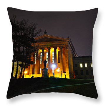 Philadelphia Art Museum  At Night From The Rear Throw Pillow by Bill Cannon