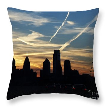 Philadelphia At Dusk Throw Pillow by Lyric Lucas