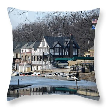 Philadelphia - Boat House Row Throw Pillow by Cindy Manero