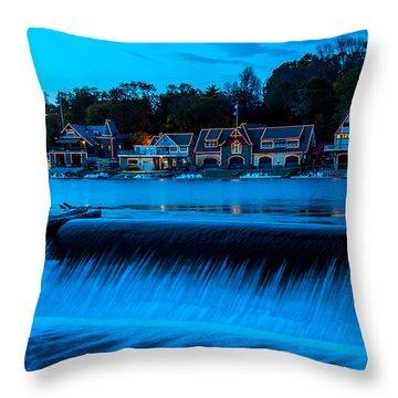 Philadelphia Boathouse Row At Sunset Throw Pillow