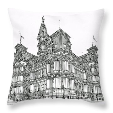 Philadelphia City Hall 1911 Throw Pillow