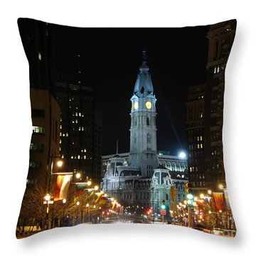 Philadelphia City Hall Throw Pillow by Christopher Woods