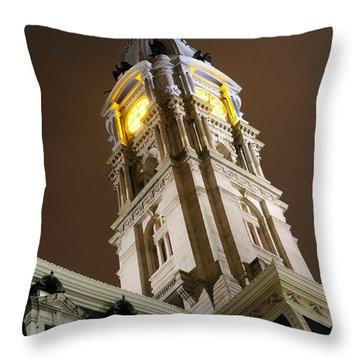 Philadelphia City Hall Clock Tower At Night Throw Pillow