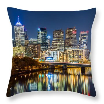 Philadelphia Cityscape Panorama By Night Throw Pillow