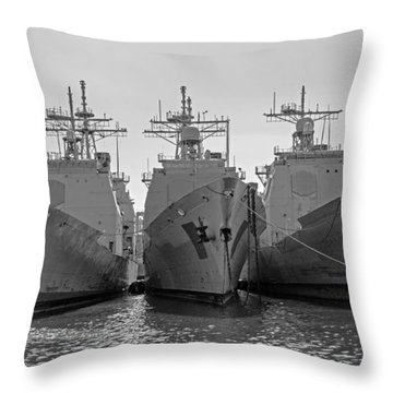 Philadelphia Navy Yard B - W  Throw Pillow by Susan  McMenamin