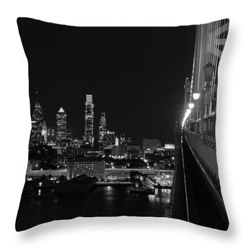 Philadelphia Night B/w Throw Pillow