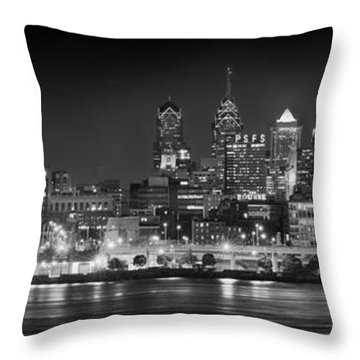 Philadelphia Philly Skyline At Night From East Black And White Bw Throw Pillow by Jon Holiday