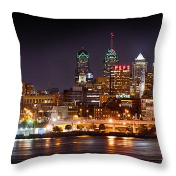 Philadelphia Philly Skyline At Night From East Color Throw Pillow by Jon Holiday
