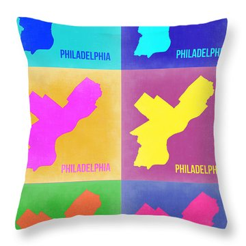 Philadelphia Pop Art Map 3 Throw Pillow