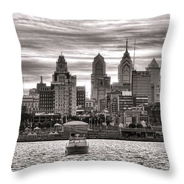 Philadelphia Silver Throw Pillow by Olivier Le Queinec