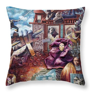 Philadelphia - Theater Of Life Mural Throw Pillow