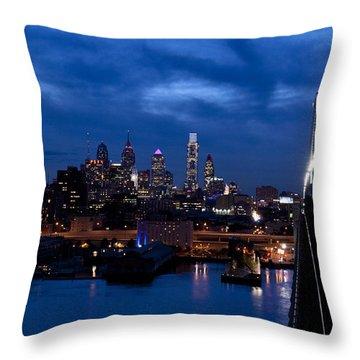 Philadelphia Twilight Throw Pillow by Jennifer Ancker