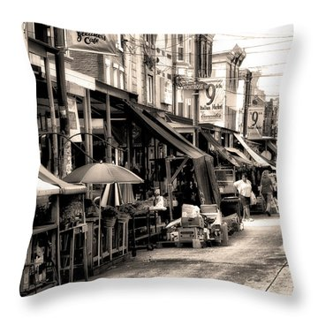 Philadelphia's Italian Market Throw Pillow by Bill Cannon