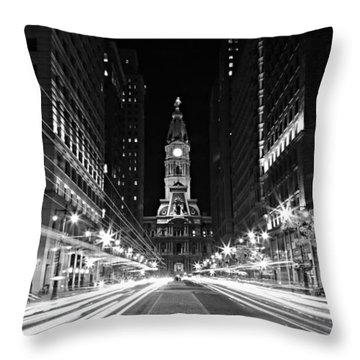 Philadephia City Hall -- Black And White Throw Pillow by Stephen Stookey