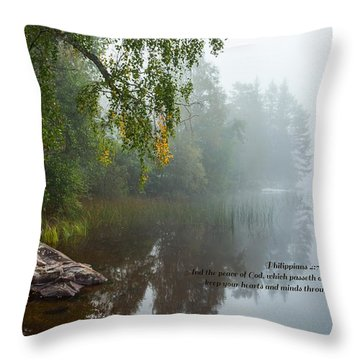 Philippians 4 Verse 7 Throw Pillow by Rose-Maries Pictures