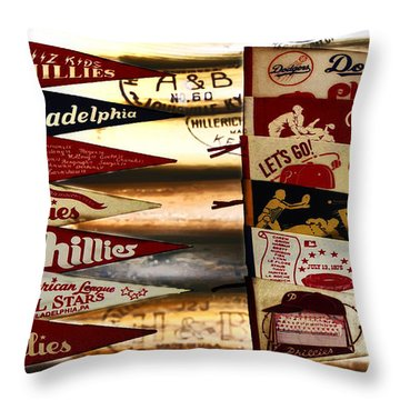 Phillies Pennants Throw Pillow by Bill Cannon