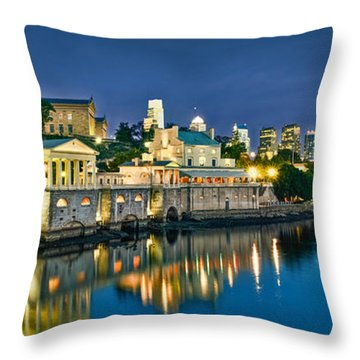 Philly Art Museum Night Throw Pillow