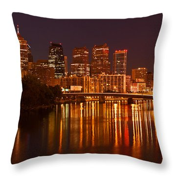 Philly Lights Reflected Throw Pillow