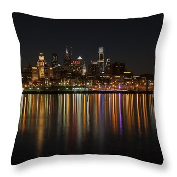 Philly Night Throw Pillow by Jennifer Ancker