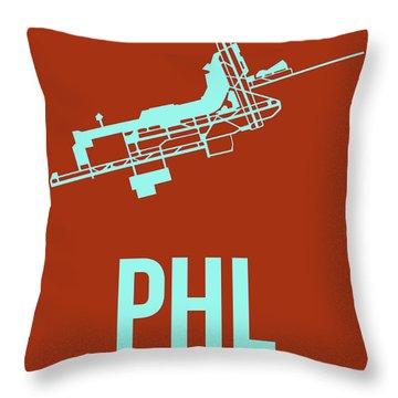 Phl Philadelphia Airport Poster 2 Throw Pillow by Naxart Studio